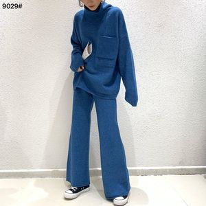 2021 Spring Autumn Fashion Women Sweater Two Piece Knitted Pant Sets Loose Tracksuit Turtleneck Suit  Plus Size 4XL Y207