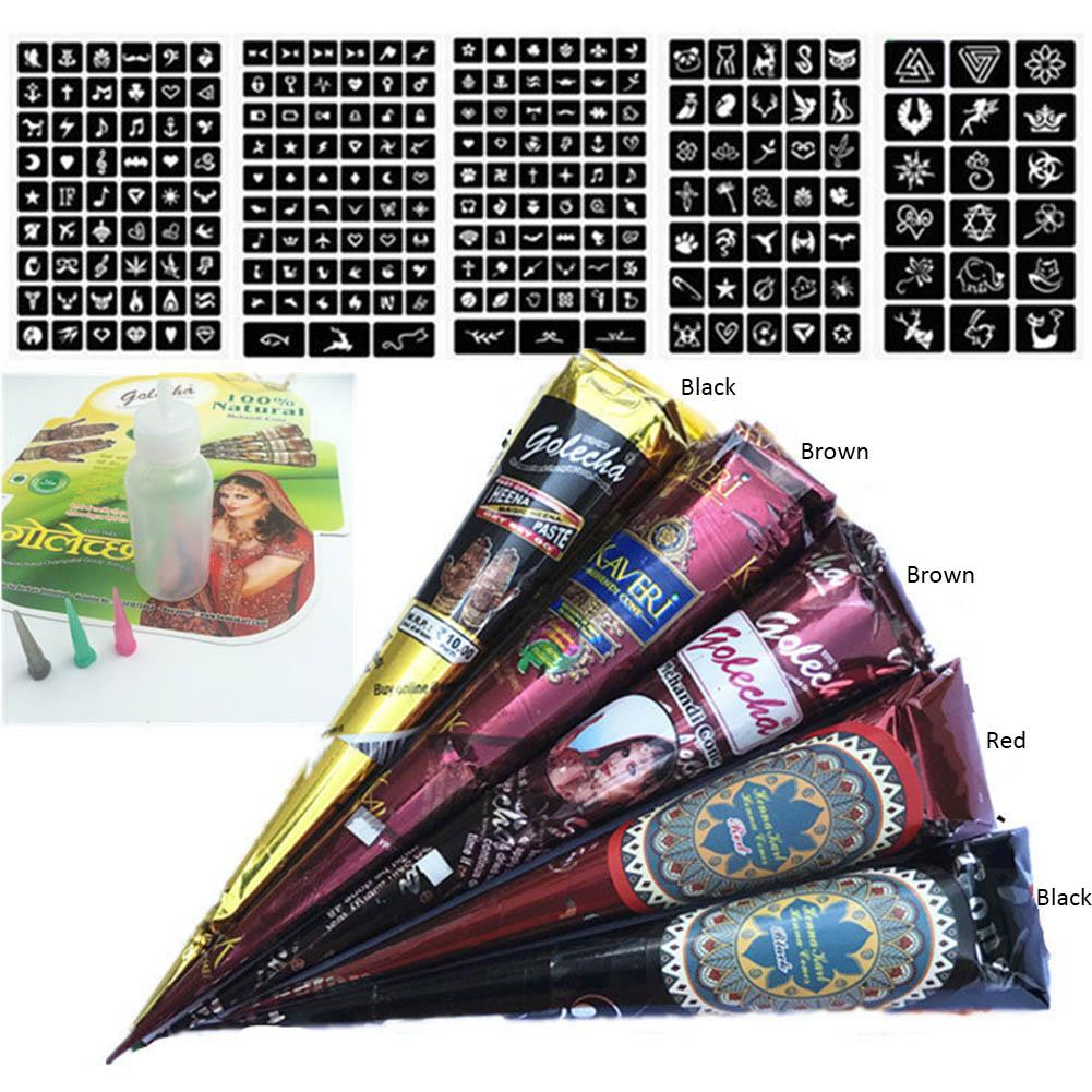 5PCS/Pack Template Czech Bottle For Girl Henna Pop Color Hand-painted Body-painted Waterproof Tattoo Paste Pen