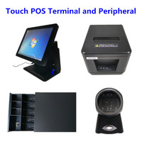 POS System 15 Touch Screen Cash Register, 80mm Thermal Printer, Cash Drawer, 1D Barcode Scanner for Supermarkets Retail Stores