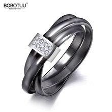 Joyería de anillos de boda con cristal de cerámica blanco/Negro exclusiva de 3 capas de jeemergo anillo de diamantes de imitación de acero inoxidable de oro rosa JR19066