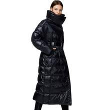 2019 New Fashion Women's White Duck Down Jacket Zippers Shiny Wide-Waisted Silver Black High Quality Metallic hot models