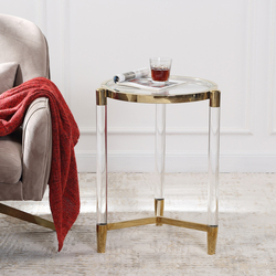 Sol غرفة المعيشة طاولة جانبية فاخرة نمط السرير طاولة جانبية طاولة القهوة المنزل ديكو الأثاث pellucid الجانب أريكة طاولة مستديرة