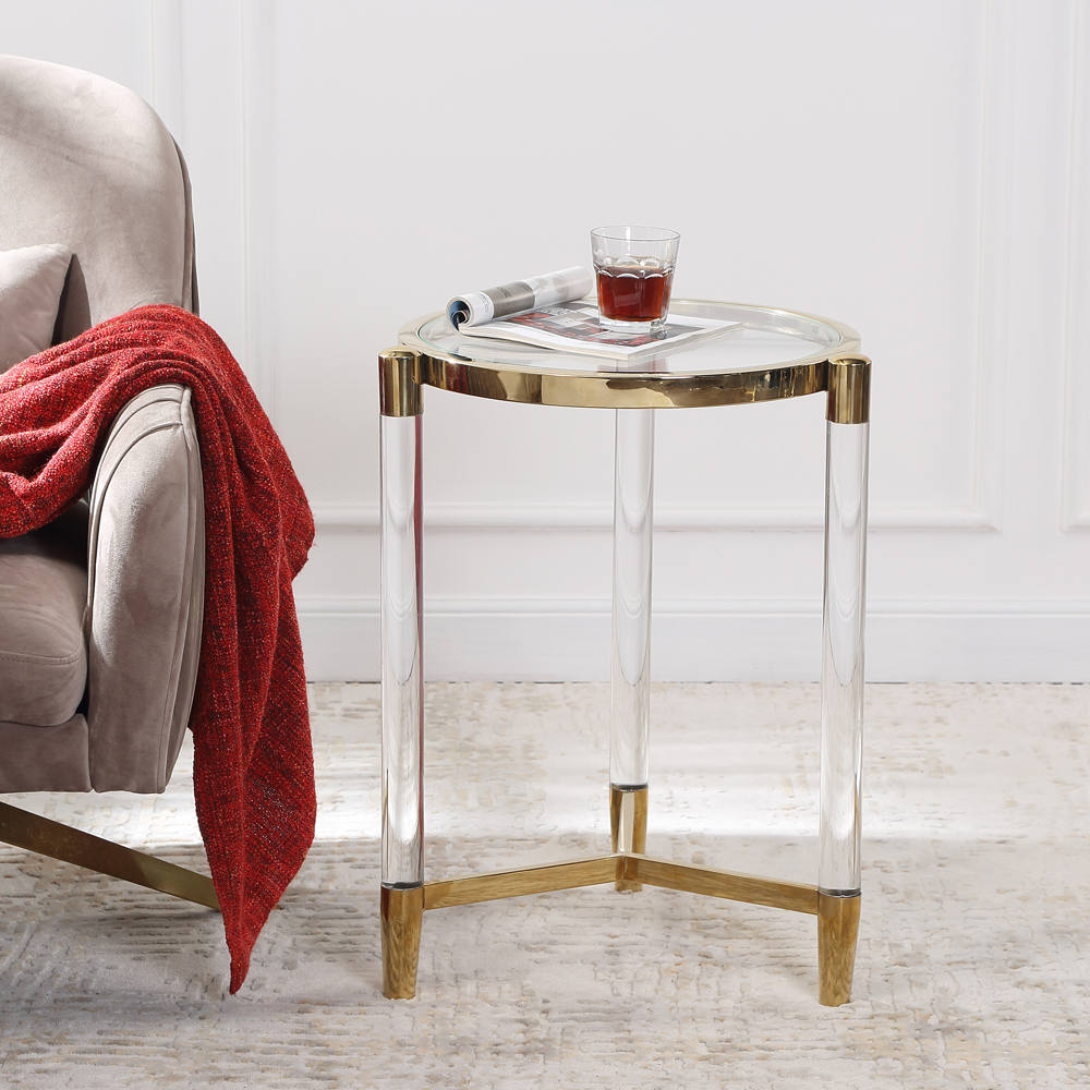 Sol Living Room Side Table Luxury Style Bedside Table Coffee Table Home Deco Furniture Pellucid Side Sofa Table Round