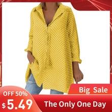 Блуза, повседневная женская Свободная винтажная рубашка в горошек с длинным рукавом, модные женские осенние Топы, топ на пуговицах, блузка, блузы размера плюс