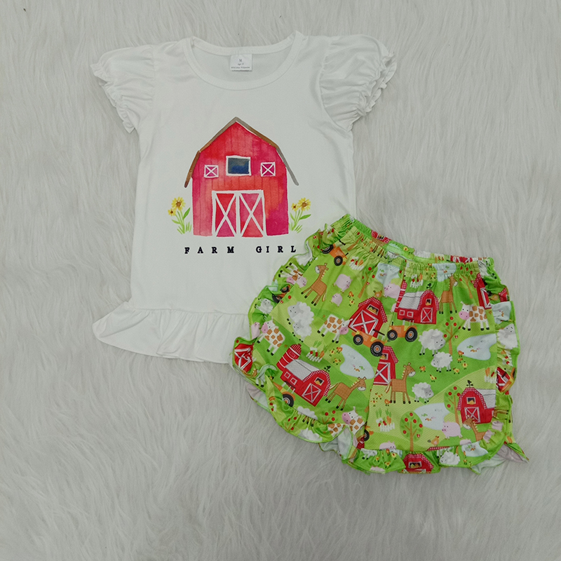 2020 Dropshipping Infant Baby Girls Clothes Sets Summer Cute 2PCS Farm Ruffle Girl T shirt Shorts Boutique Kids Clothing Outfits
