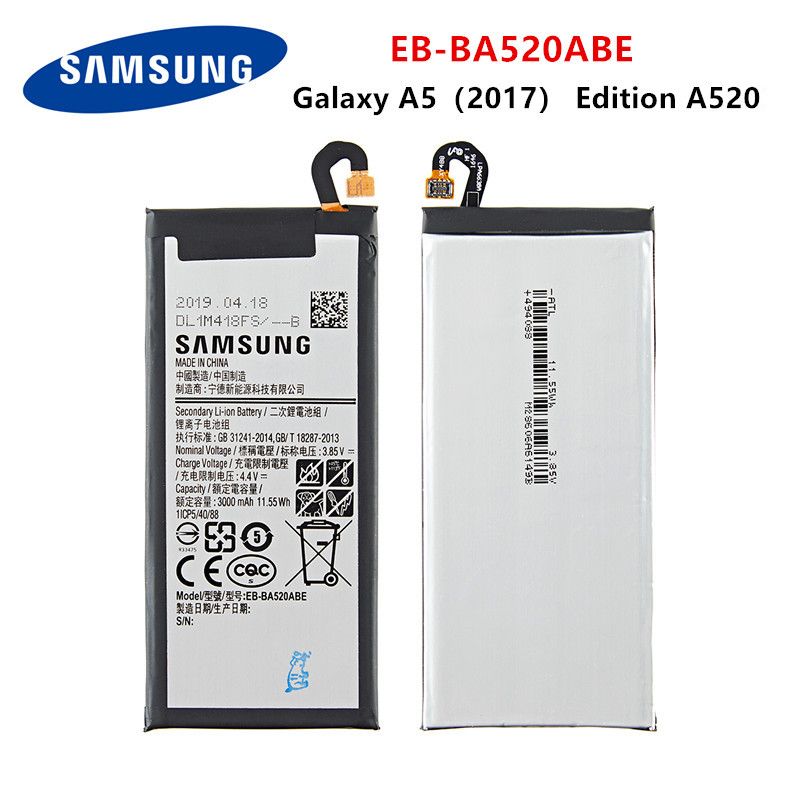 SAMSUNG Orginal EB-BA520ABE 3000mAh Battery For Samsung Galaxy A5 2017 Edition A520 SM-A520F A520K A520L A520S A520W A520F/DS