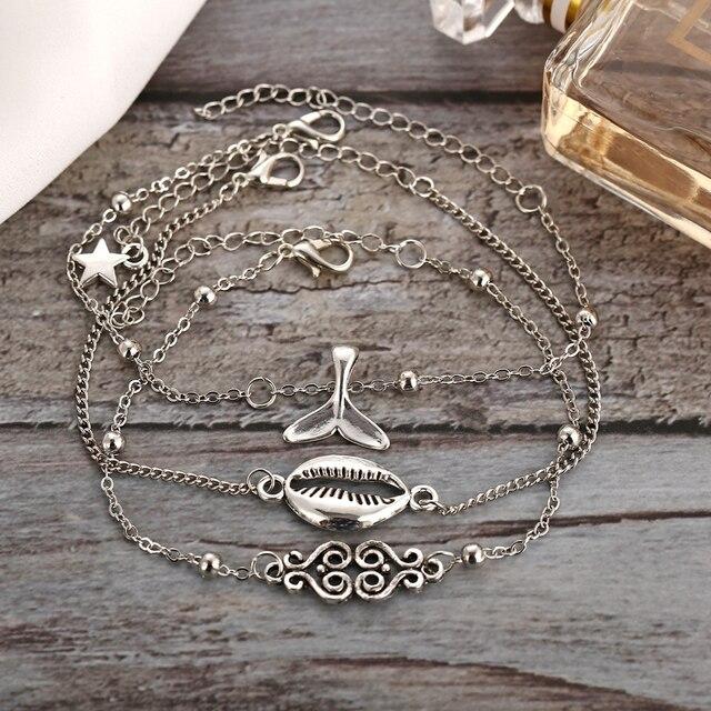 Bls-miracle coquillages vagues de mer queue de baleine chanceux multi-niveau pendentif cheville 2020 mode bohème à la main perlé cheville bijoux