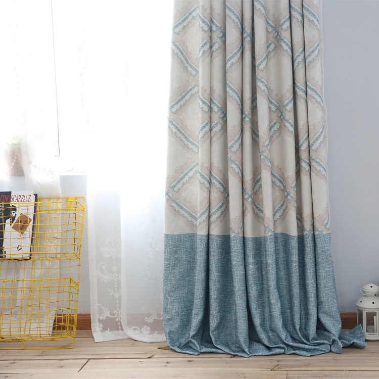 Новая простая, чистая и свежая печать льняных занавесок для гостиной столовой спальни.
