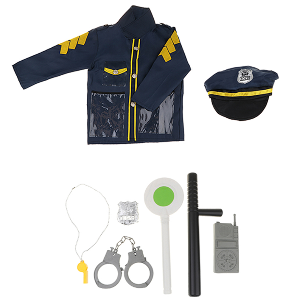 Kid Police Role Toy Officer Policeman Costume Uniform Hat Costume & Handcuff