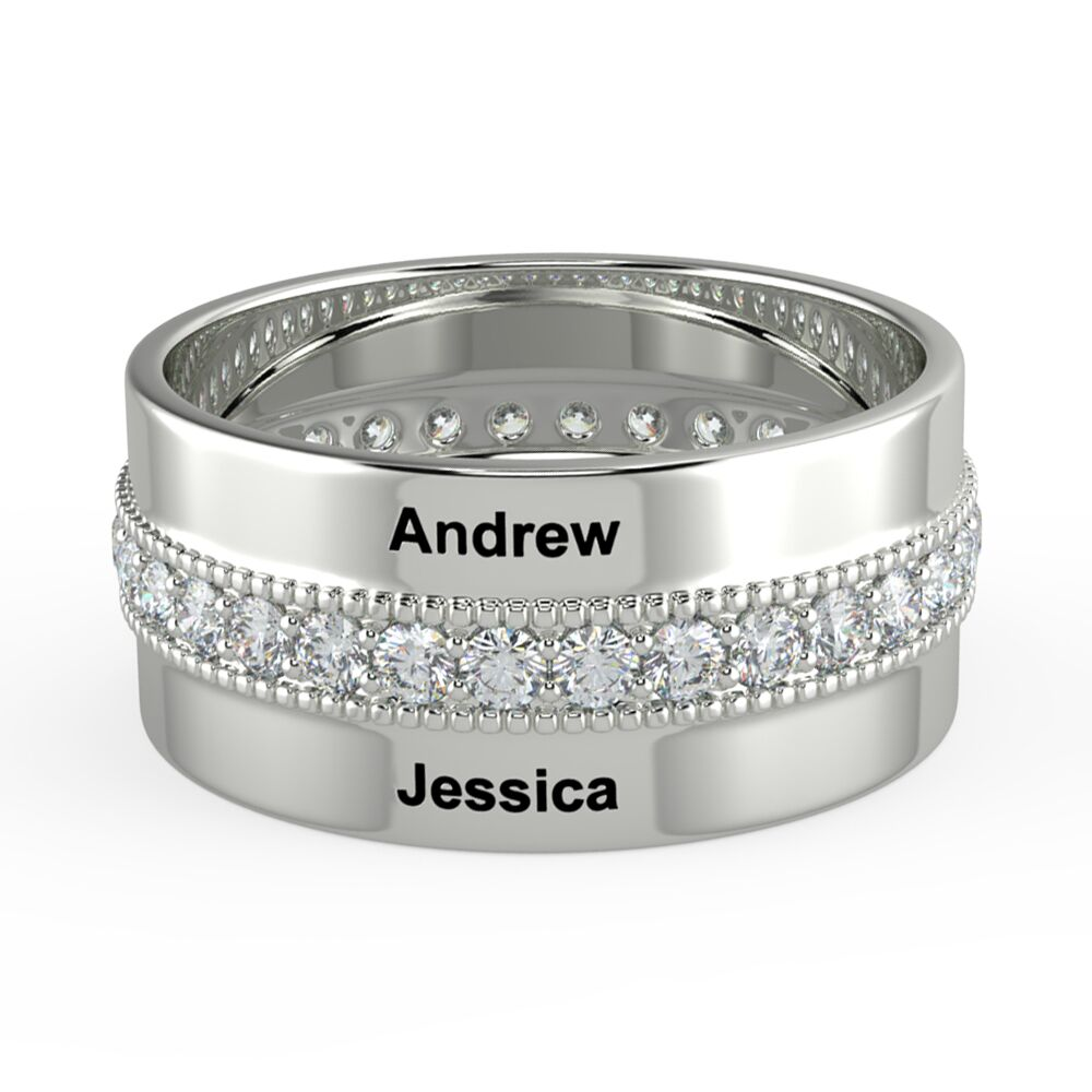 Personalized Rings With Cubic Zirconia Stone Engraved 2 Names