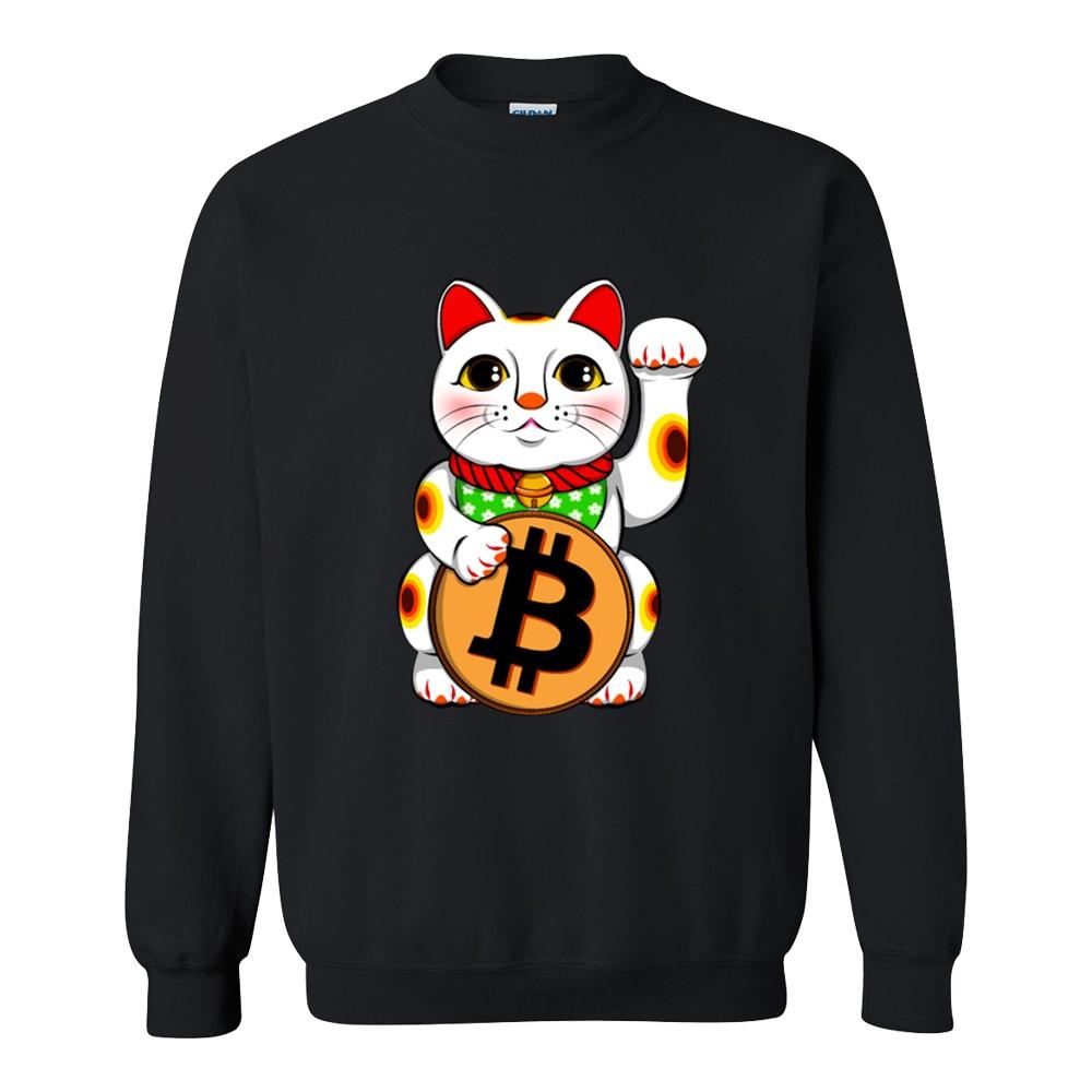 2018 Hoodies Bitcoin Lucky  Maneki Neko mens Black Cotton Fashion Sweatshirt men Autumn Casual Anime men Hoodies XXS-2XL 1