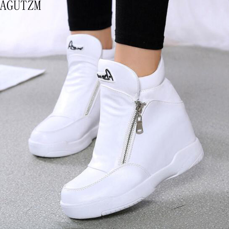 Winter Fur Sneakers Platform Woman 2018 Autumn High Top Female Casual Shoes Wedge Side Zipper Fashion Warm Snow Sneakers V671