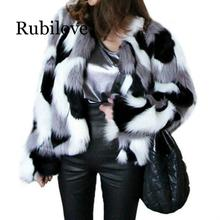 Rubilove Winter New Imitation Fur Jacket Coat Big size Womens Loose Round Neck Short Ladies Mixed Color Size XS-6X Outerwe
