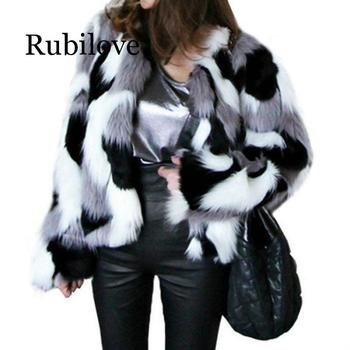 Winter New Imitation Fur Jacket Coat Big size Womens Loose Round Neck Short Ladies Mixed Color Size XS-6X Outerwear