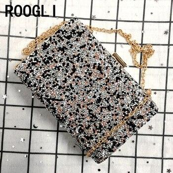 ROOGLI 2020 new Woman Evening bag Women Diamond created Rhinestone Clutch Crystal Day Wallet Wedding Purse Party Banquet