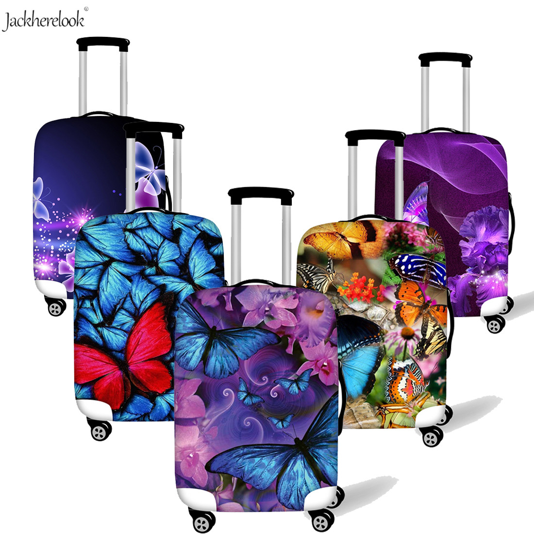 Jackherelook 3D Purple Blue Butterfly Print Luggage Bag Cover Outdoor Trolley Suitcase Baggage Protect Case Water/Dirty Proof