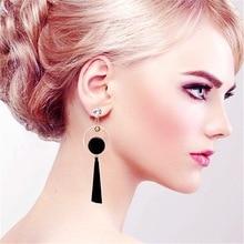 цена на Elegant Geometry Circle Dangle Earrings Rhinestone Asymmetry Long Tassel Drop Earrings For Women Banquet Jewelry Accessories