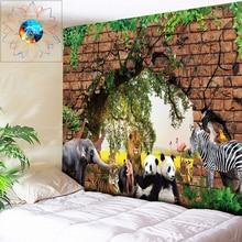 Elephant Tapestry India Mandala Wall Hanging Brick Wall Plant Animal Decoration Psychedelic Hippie Wall Tapestry Boho Decor Art все цены