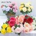 Искусственные цветы из розового шелка 34 см, маленький букет с 5 головками, искусственные цветы на День святого Валентина, свадебное украшени...