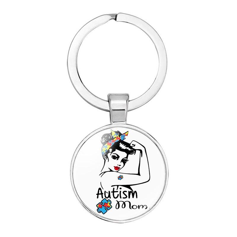 Consciência do autismo pingente chaveiro quebra-cabeça de vidro cabochão chaveiro presente da família llaveros