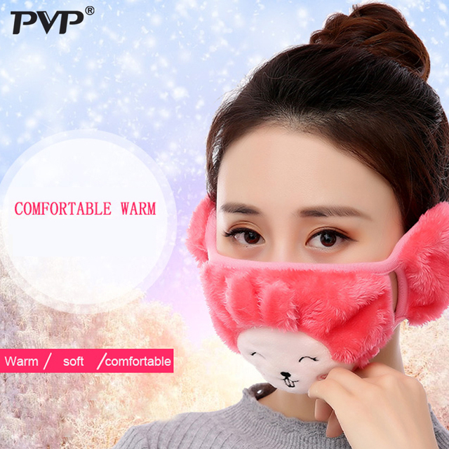 Mother and child Cute rabbit Ear protective kids mouth mask Windproof Mouth-muffle anti dust winter masks Children Anti Haze Flu 1