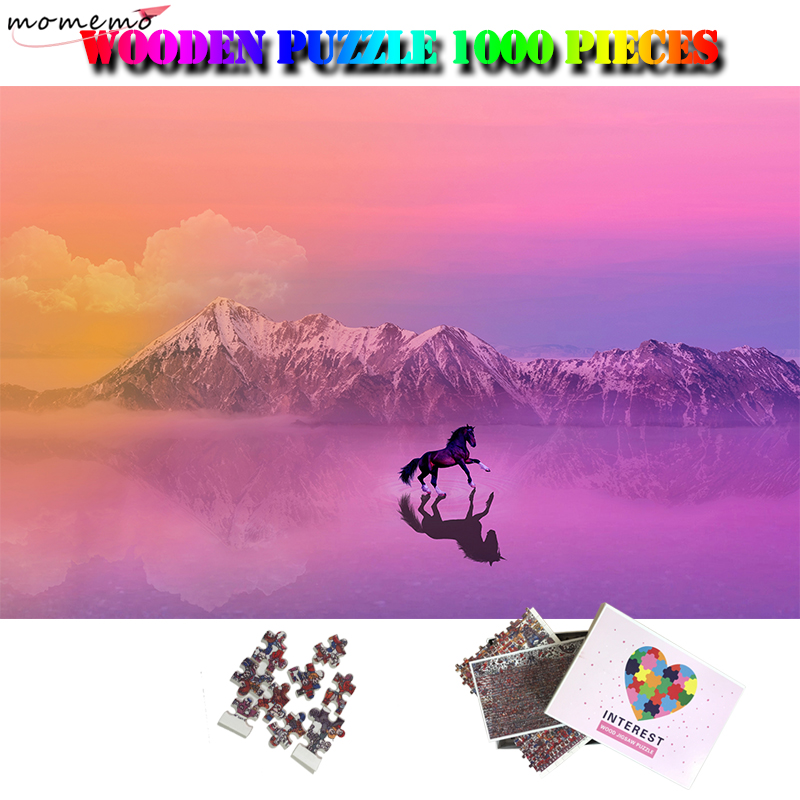 MOMEMO Horse 1000 Pieces Puzzle Beautiful Landscape Jigsaw Puzzles Wooden 1000 Pieces Adults Puzzle Toys Puzzle Games for Adults
