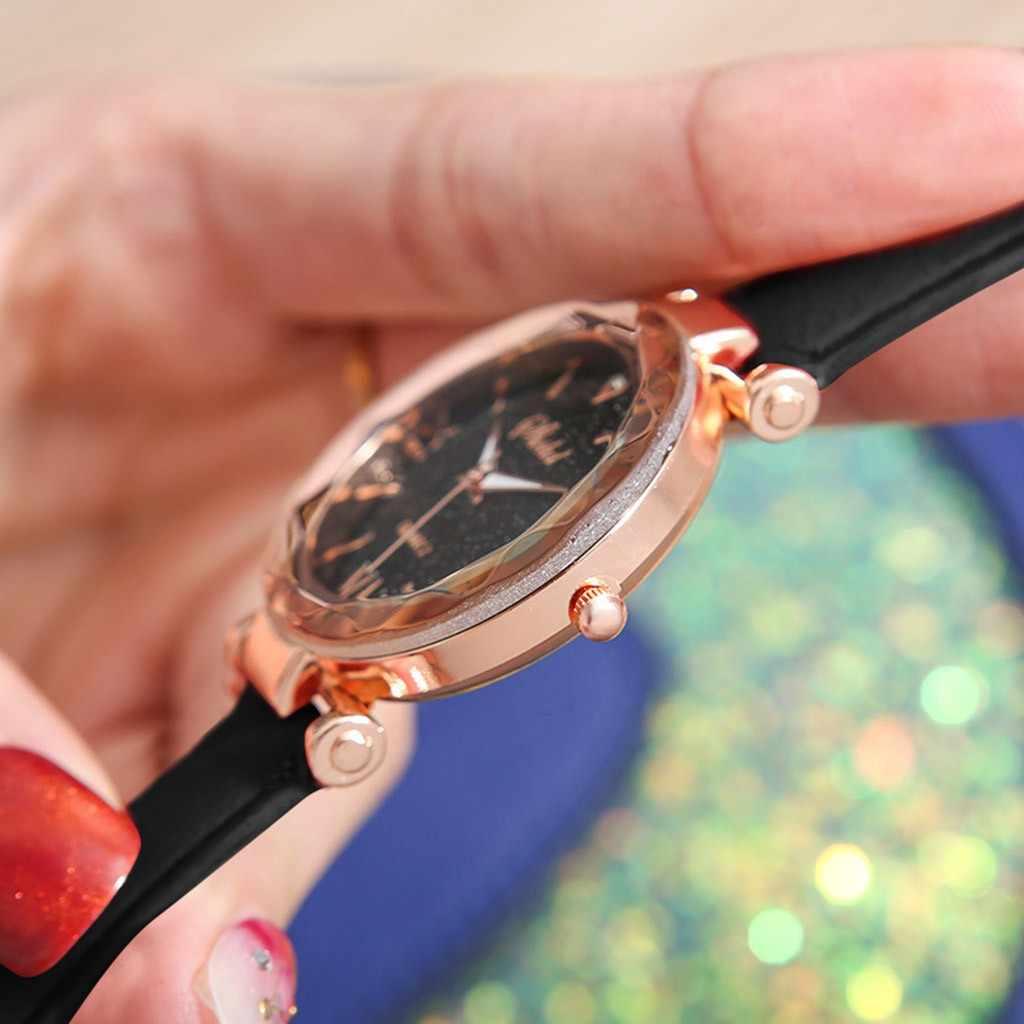ساعة نسائية للجنسين نجوم نقطة صغيرة متجمد حزام ساعة السيدات منقط مع مقياس الروماني ساعة السيدات Reloj Mujer Zegarek Damski