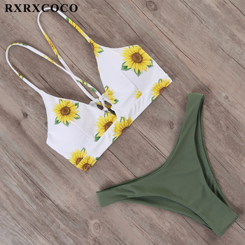 RXRXCOCO Bandage Swimwear Women Brazilian Bikini Swimsuit Female Thong Bikini Set Bathing Suit Push Up Flower biquini swimsuit 3