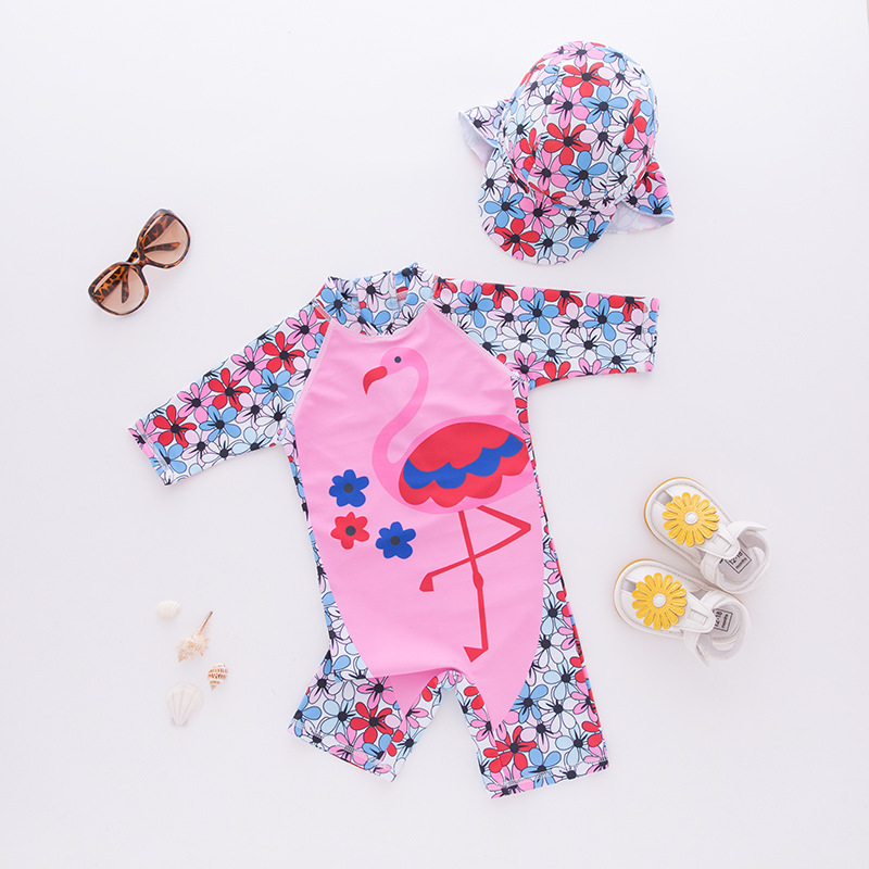 KID'S Swimwear GIRL'S One-piece Swimming Suit Flamingo Hooded Swimwear Long Sleeve Beachwear Sun-resistant Hot Springs Tour Bath