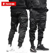 Мужские брюки для танцев, брюки шаровары в стиле панк, хип хоп, повседневные брюки для бега с несколькими карманами и эластичной талией, дизайнерские M 4XL