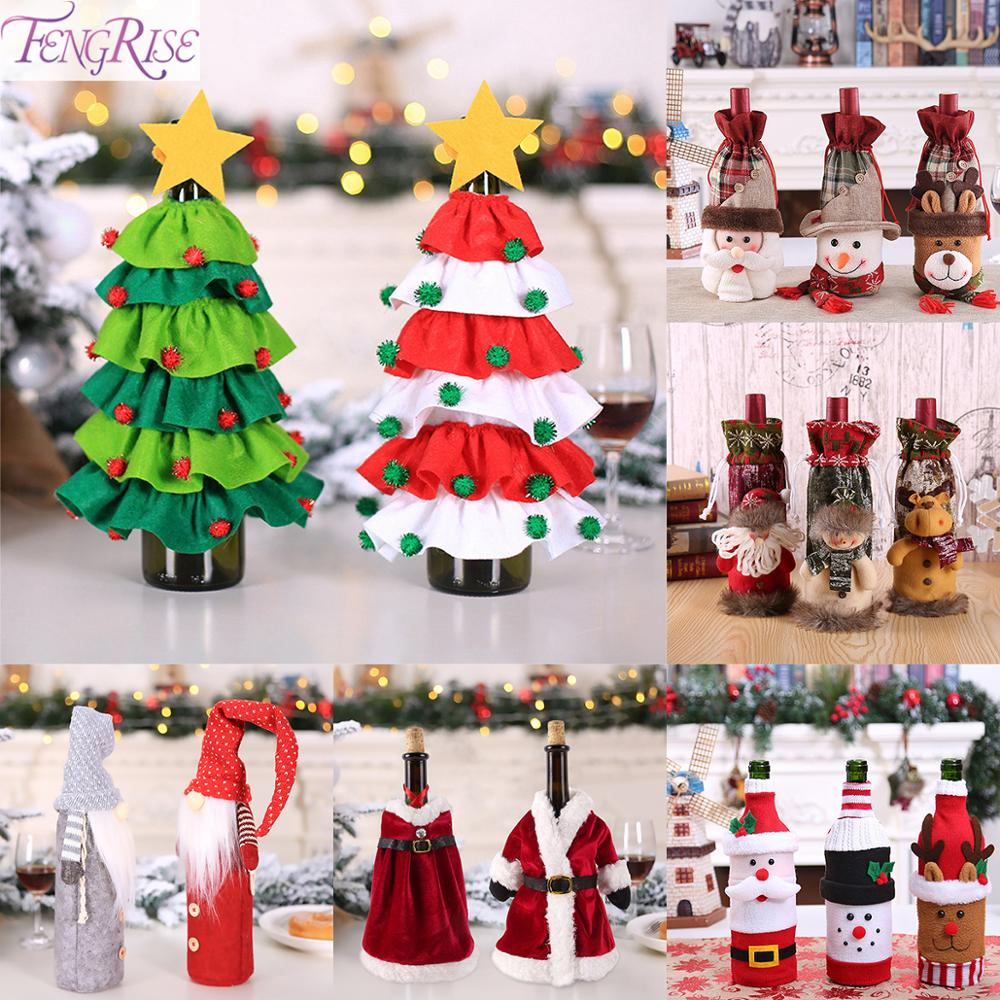 FENGRISE Christmas Wine Bottle Cover Merry Christmas Decoration For Home 2019 Chrismas Navidad Xmas Decor Happy New Year 2020