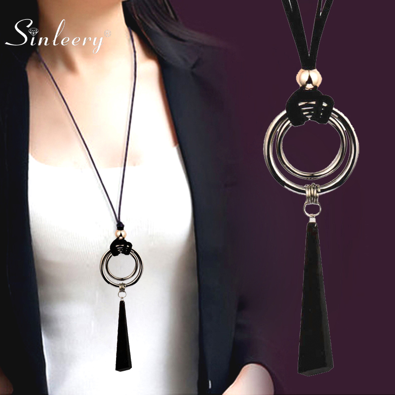 SINLEERY Vintage Gothic Black Suede Leather Long Rope Necklace for Women Big Alloy Round Pendant Necklace Jewelry MY444 SSP