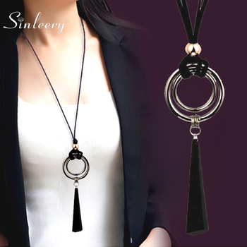 SINLEERY Vintage Gothic Black Suede Leather Long Rope Necklace for Women Big Alloy Round Pendant Jewelry MY444 SSP