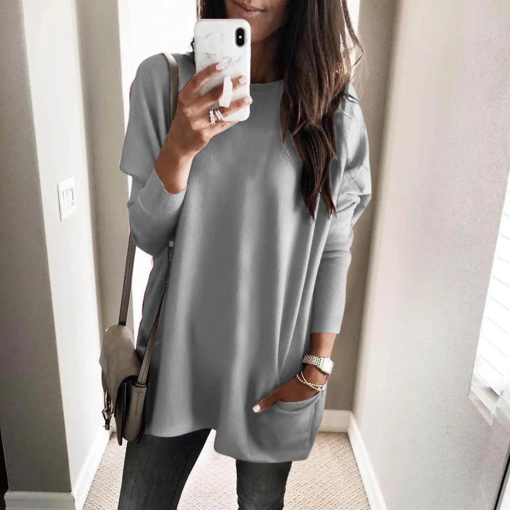 Womens Solid Warm Long Sleeve Sweatshirt Loose Pocket Daily Pullover Tops #4O08 (26)
