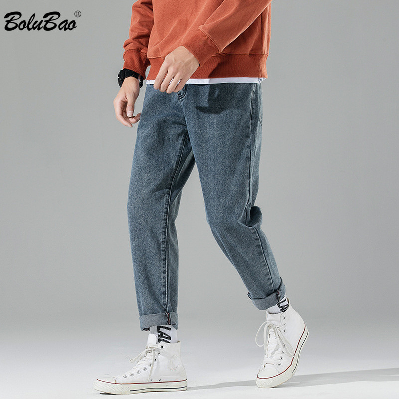 BOLUBAO Brand Men Straight Jeans Fashion Men's Retro Wide Leg Pants Spring Autumn New Trendy Wild Jeans Male