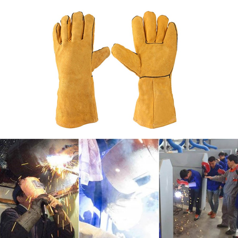 1Pair Welding Work Gloves With Yellow Palm Welders Thick Cow Split Leather Kitchen Stove Heat Puncture Resistant BBQ Glove