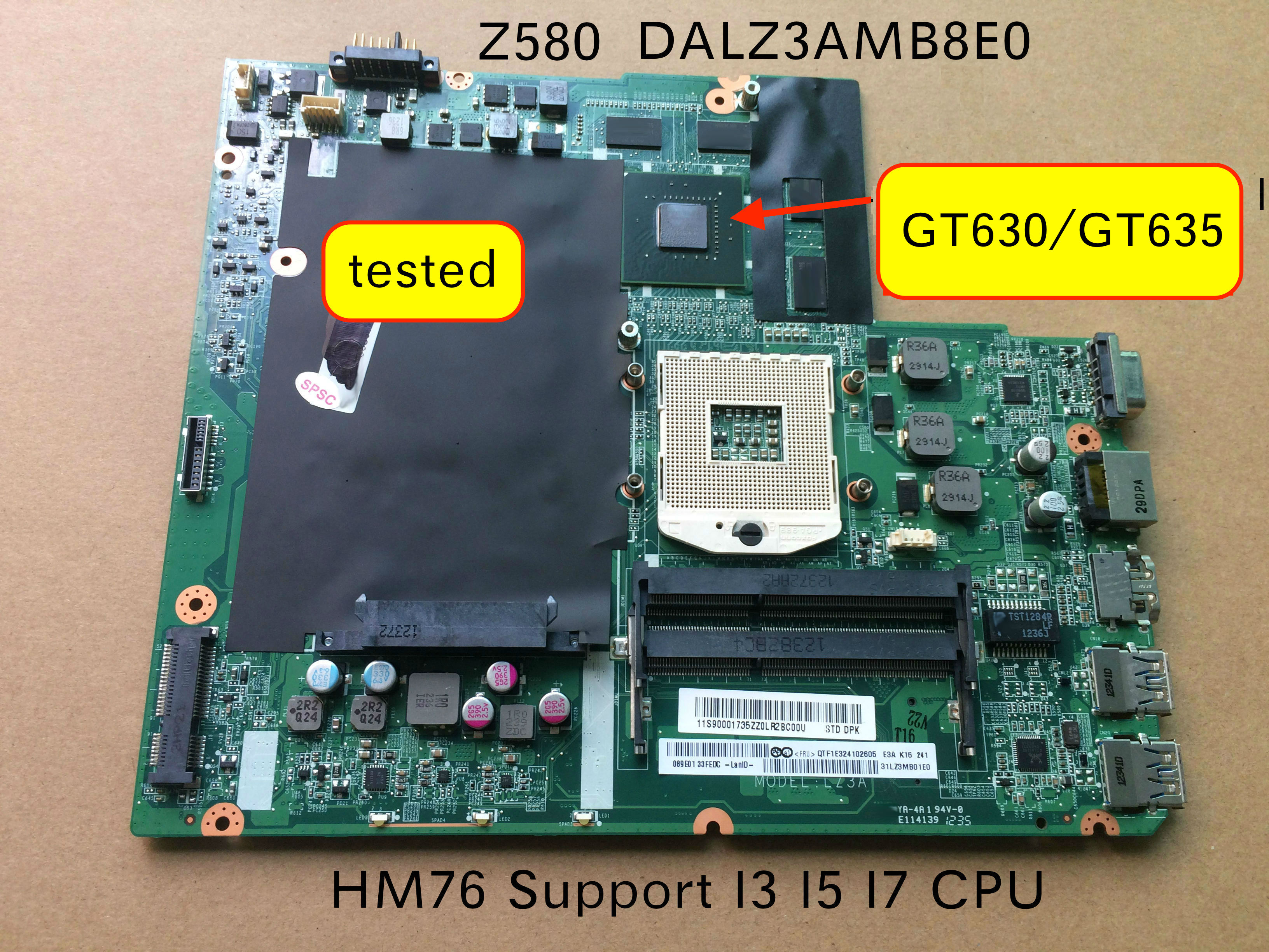 Original Laptop Motherboard For Lenovo Ideapad Z580 DALZ3AMB8E0 GT630M GT635M video card
