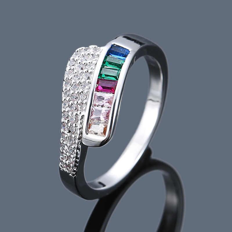 สไตล์ Charm แหวนมงกุฎ Rainbow Lady หมั้นแหวนไม่สม่ำเสมอออกแบบ Inlay Zircon แฟชั่นประณีตคู่เครื่องประดับ