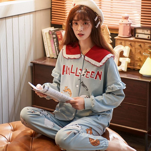 セクシーなパジャマセットの女性のパジャマ綿春冬長袖ホームウェアpijamasパジャマ女性ソフトかわいいブルーナイトウェア