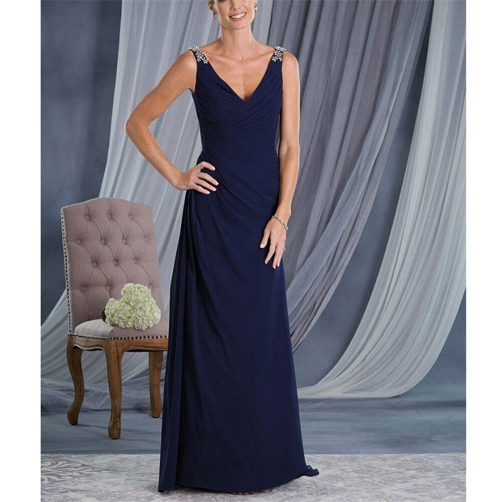 Dreamy Navy Blue Chiffon Women's Dresses Spaghetti Straps Beading Ruffles Full-Length Custom-Made Sweep Train Mother Dresses