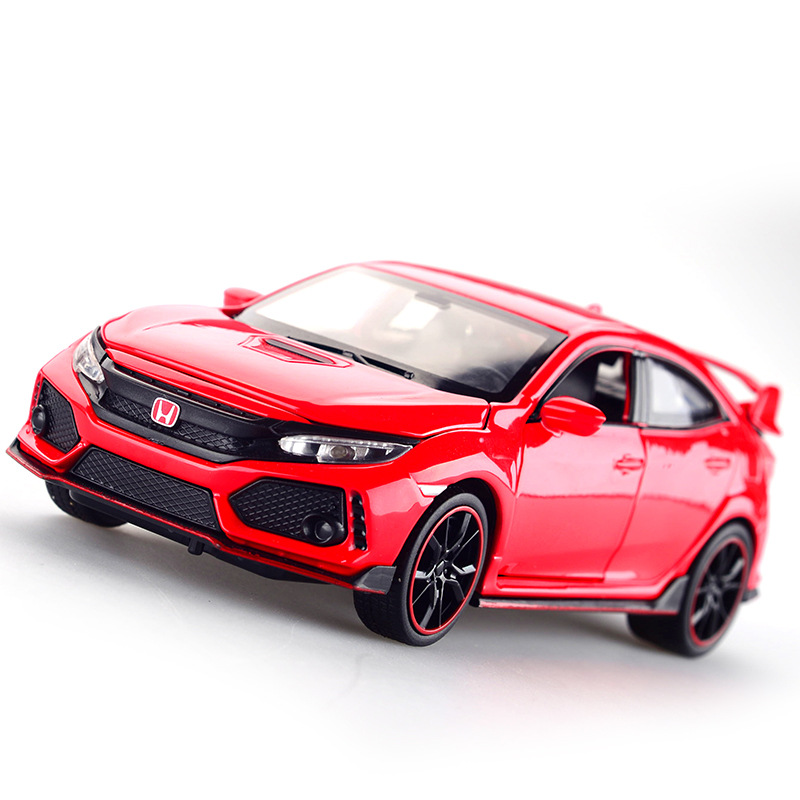 Diecast Model Car Honda Civic Type R 1 32 Metal Alloy Simulation Pull Back Cars Lights