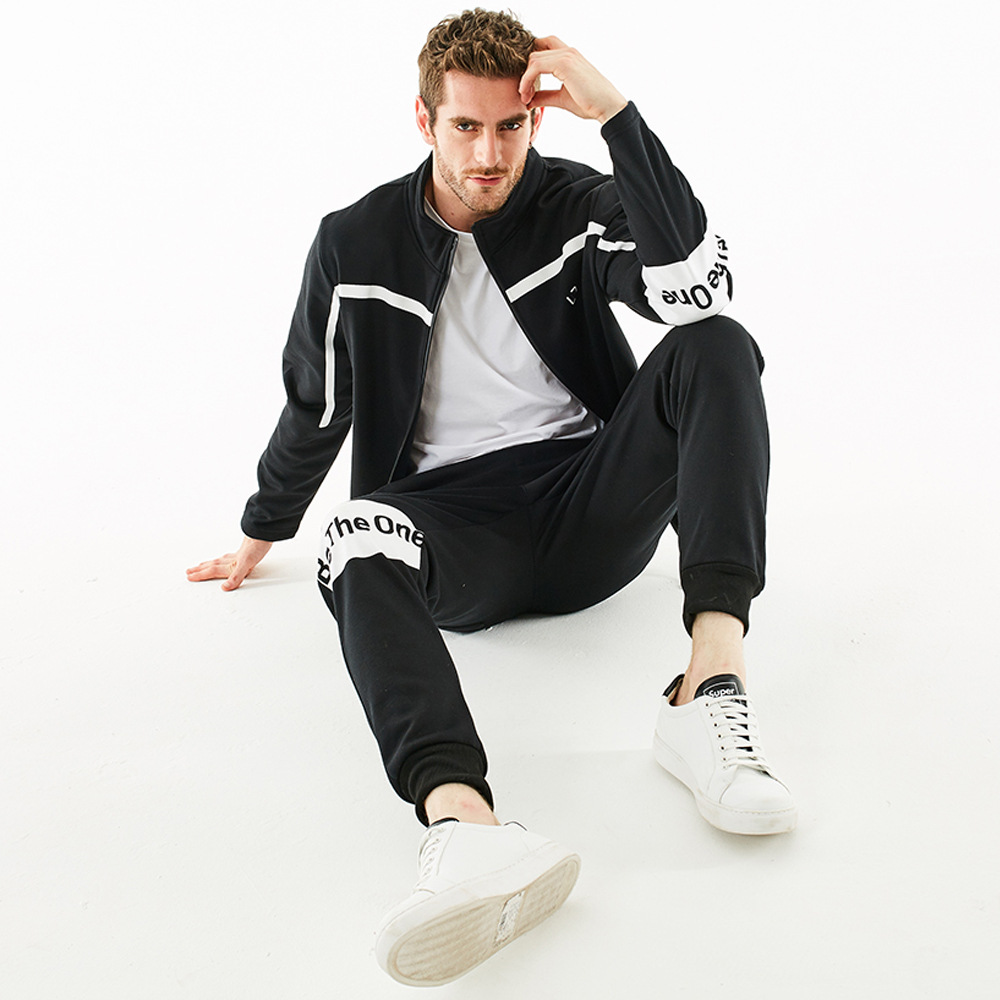 MEN'S Long Sleeve Sports Set Lines Contrast Color English Printed Zip-up Jacket Waist Beam Leg Trousers Two-Piece Set