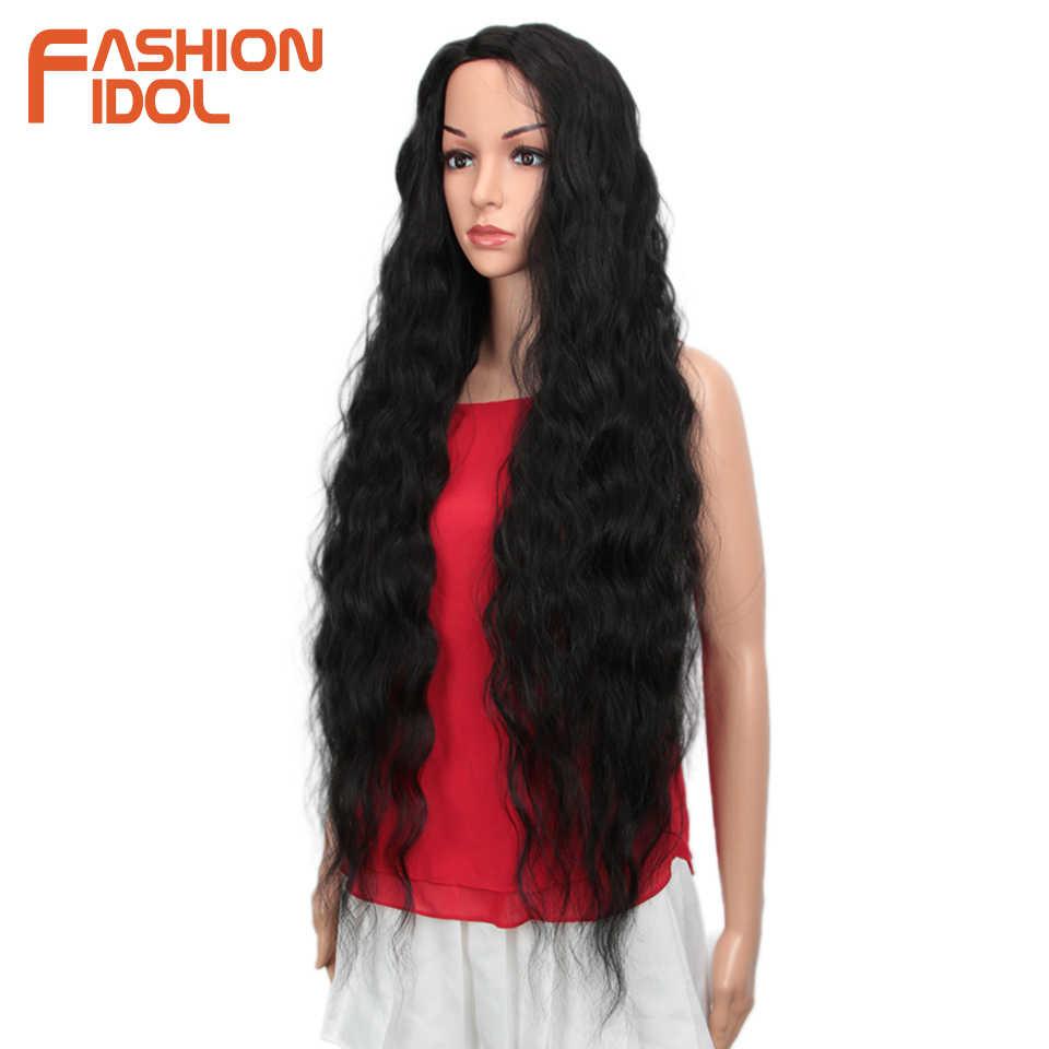 GLORIA Rambut Sintetis Wig Gelombang Longgar Hitam 38 Inch Ombre Rambut Pirang Gelombang Dalam Super Panjang Bergelombang Sintetis Wig untuk WANITA HITAM