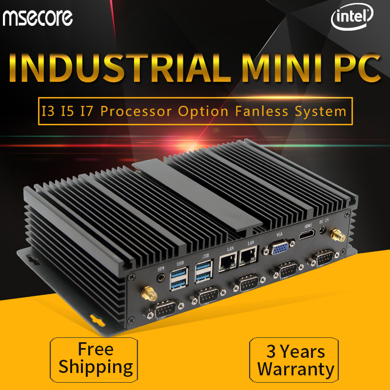 MSECORE Fanless Intel i3 i5 i7 fanless Mini PC Windows 10 industrial Linux Desktop Computer HTPC HDMI VGA 6*com 2*LAN 300M WiFi