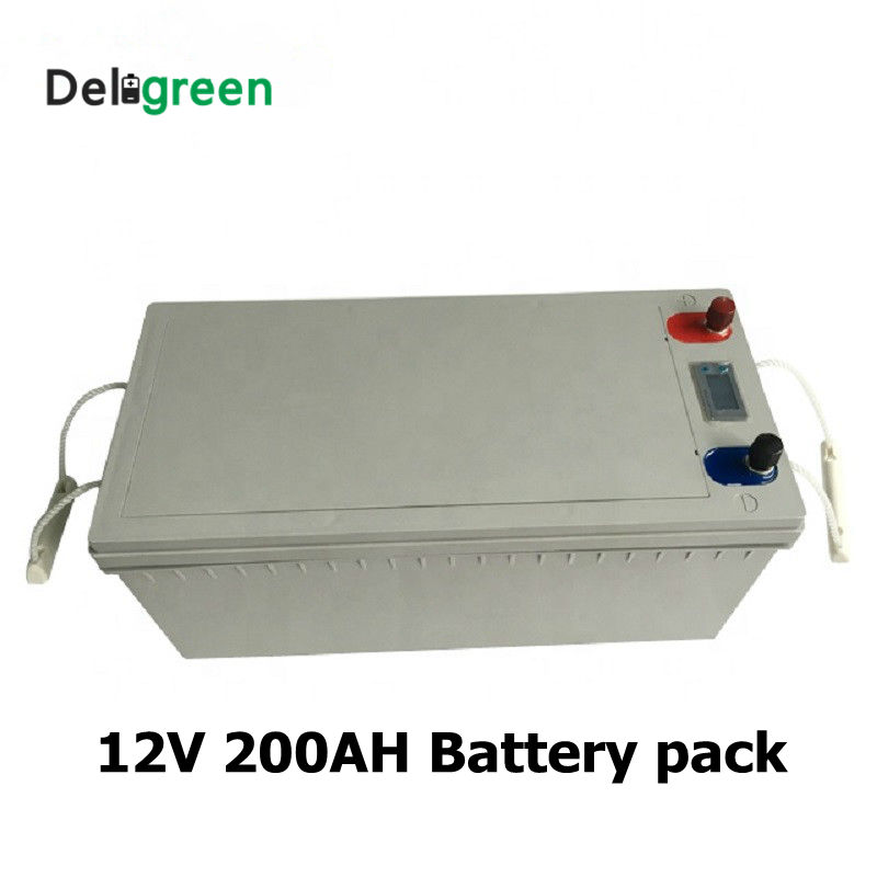 <font><b>12V</b></font> 200AH Lithium 3.2V <font><b>LiFePO4</b></font> 14.6V <font><b>Battery</b></font> pack for Solar Energy storage system Electric Boat Yatch with Led display image