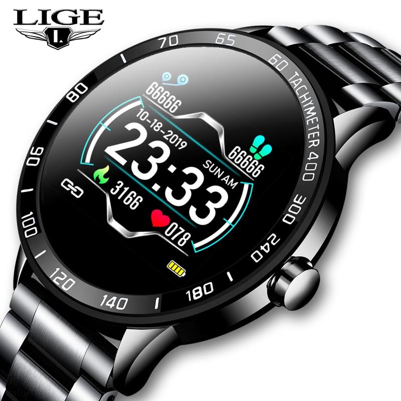 LIGE Новые смарт-часы для мужчин, шагомер, пульсометр, монитор артериального давления, водонепроницаемый стальной ремень, умные часы, спортив...