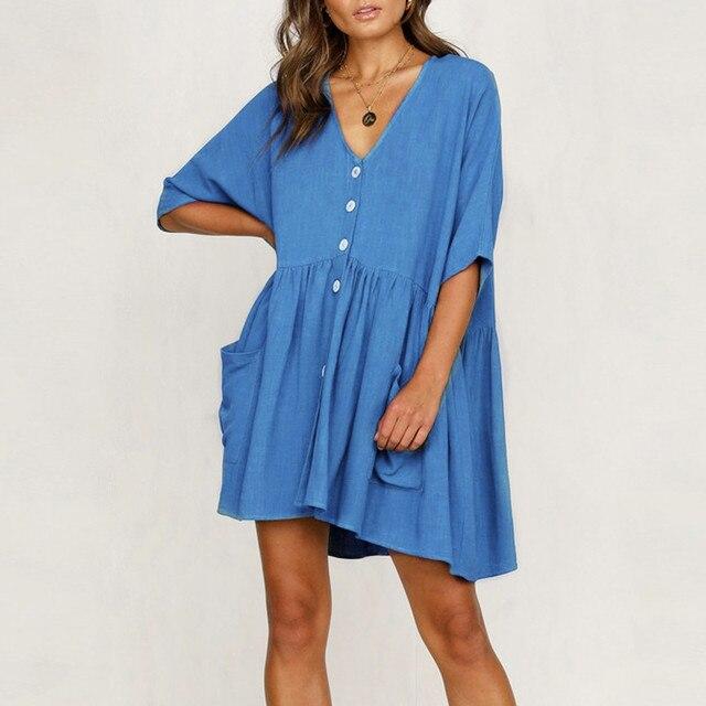 Women's Fashion Casual V-Neck Solid Short Sleeve Button Pocket Short Dress vestido de mujer summer dress платья для женщин 4
