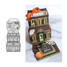 JC Halloween Haunted House Architecture Metal Cutting Dies for Scrapbooking Stencil Handmade Make Craft Mold DIY Decor Die Cut