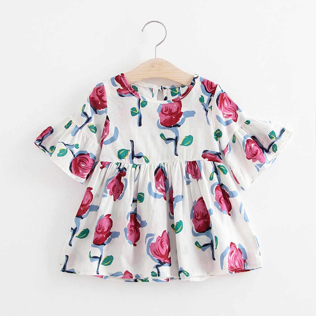 Maluch dzieci dziewczyny sukienka hawaje kwiatowy Print krótka, zwiewna rękaw księżniczka sukienka Boho letnie ubrania dla dzieci dziewczyny sukienka Vestidos