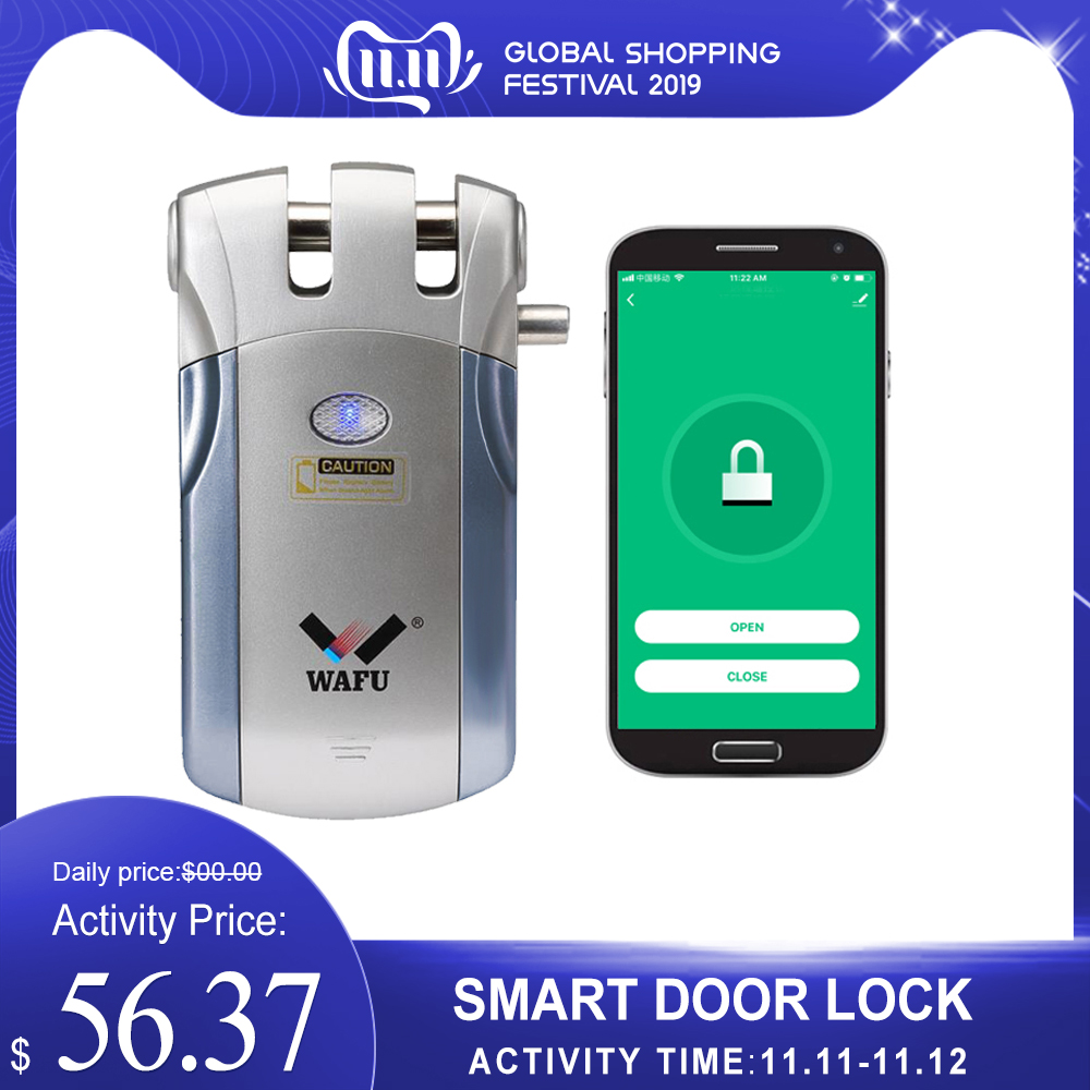 WAFU HF-018W WiFi Smart Lock Remote Control Invisible Keyless Smart Door Lock Home Security Easy Installing Electronic Lock